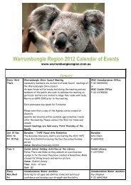 2012 Calendar last updated 30th Jan 12 - Warrumbungle National ...