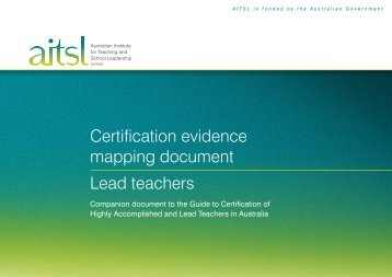 Certification evidence mapping document Lead teachers