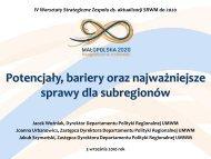 Potencjały, bariery oraz najważniejsze sprawy dla subregionów