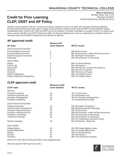 Credit for Prior Learning CLEP and AP Policy