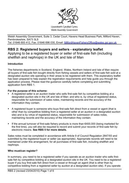 RBS 2: Registered buyers and sellers - explanatory     - Fish Register