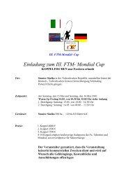 Einladung zum III. FTM- Mondial Cup - Fishing Tackle Max