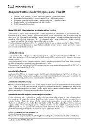 PANAMETRICS Analyzátor kyslíku v kouřovém ... - Panametria CZ