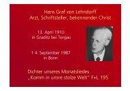 Hans Graf von Lehndorff Arzt, Schriftsteller, bekennender Christ ...