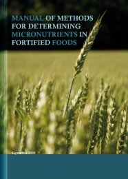 manual of methods for determining micronutrients in fortified foods