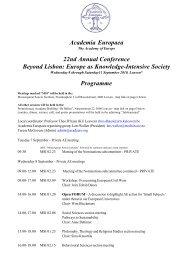 Programme - Academia Europaea