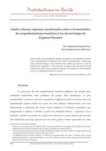 Saúde e doença: algumas considerações sobre a ... - Faculdades EST