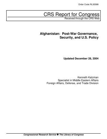 Afghanistan: Post-War Governance, Security and U.S. Policy