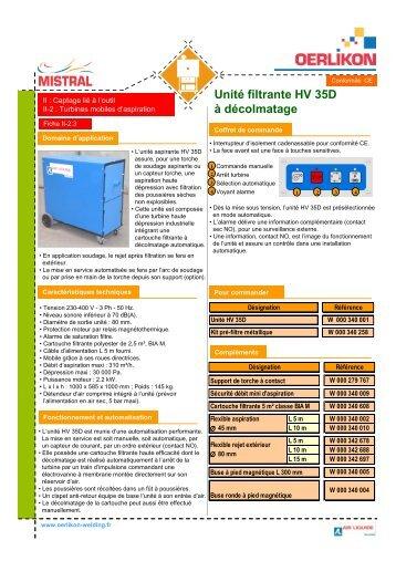 II-2.3 Unité filtrante HV 35D à décolmatage - Oerlikon