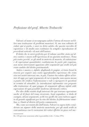 Prefazione del prof. Alberto Trabucchi - Fondazione Giovanni Valcavi