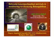 Helyszíni kőzetmechanikai mérések és monitoring-tevékenység ...