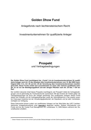 Golden Dhow Fund Prospekt - Crystal Fund Management AG
