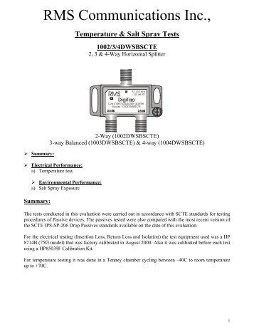 Salt Spray Test - RMS Communications Inc