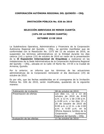 Invitacion Publica No. 026 de 2010 - Corporación Autónoma ...