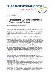3. Norddeutsche KUBB-Meisterschaften in Friedrichskoog/Nordsee