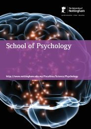 School of Psychology - The University of Nottingham, Malaysia ...
