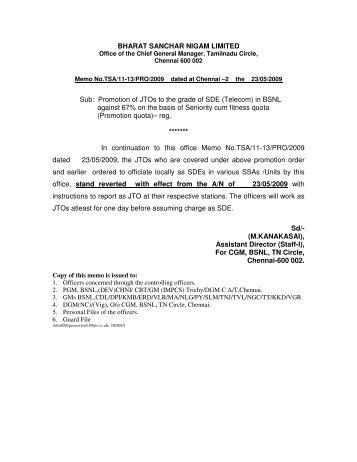Promotion of JTOs to the grade of SDE - aibsnloa tamilnadu circle