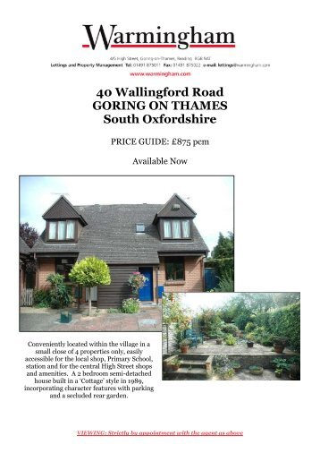 40 Wallingford Road GORING ON THAMES South ... - Warmingham
