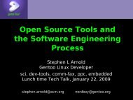 Free Tools for Software Engineering and Analysis - Gentoo