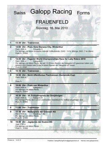 16. Mai 2010 FRAUENFELD Rennen 2 - Galopp Racing Forms