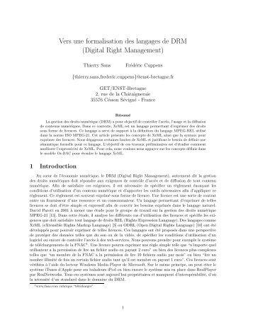Vers une formalisation des langages de DRM (Digital ... - smis inria