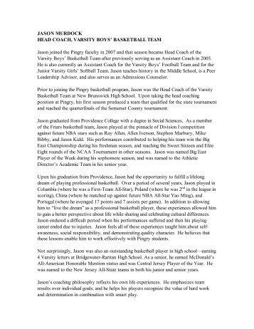 JASON MURDOCK PROFILE 20091020 - Pingry School