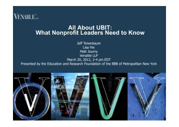 All About UBIT: What Nonprofit Leaders Need to Know - Venable LLP