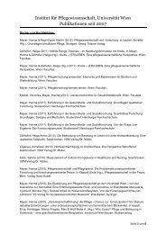 Publikationen Institut für Pflegewissenschaft