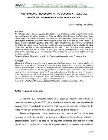 ABORDANDO O PROCESSO CRIATIVO DOCENTE ... - Anpap