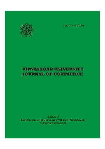 VIDYASAGAR UNIVERSITY JOURNAL OF COMMERCE