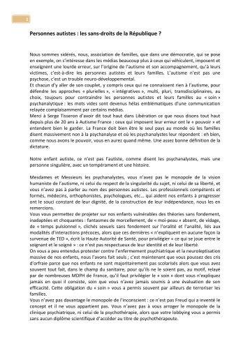 Personnes autistes : les sans-droits de la ... - Autisme France