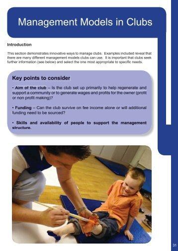 Management models in clubs - Clybiau Plant Cymru: Kid's Clubs