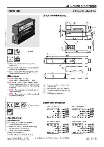 Leuze (I)GSU 14C Fork Sensor Spec Sheet - Marshall Wolf ...