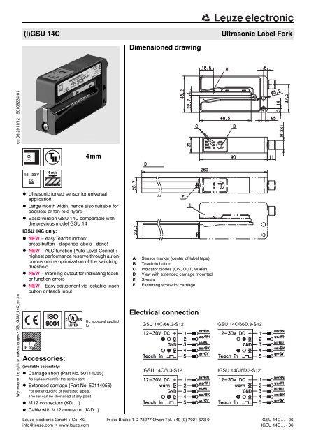 Leuze (I)GSU 14C Fork Sensor Spec Sheet - Marshall Wolf