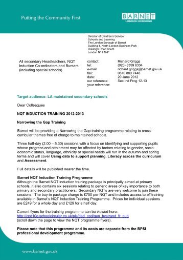 NQT Induction Programme for maintained secondary schools