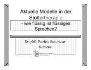 Aktuelle Modelle in der Stottertherapie - Katholisches Klinikum ...