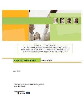 Rapport d'évaluation de la campagne publicitaire de novembre 2011