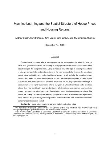 The Spatial Dimension of House Prices