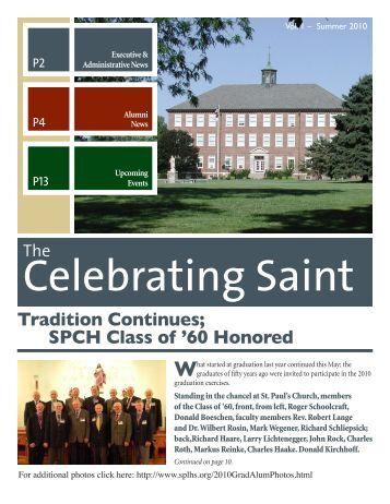 Alumni Newsletter Summer 2010 (PDF) - Saint Paul Lutheran High ...