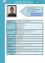 CENTRAL INSTITUTE OF FRESHWATER AQUACULTURE - Cifa