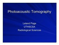Photoacoustic Tomography - Research Imaging Institute