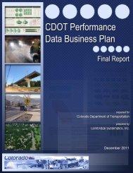 CDOT Performance Data Business Plan - Cambridge Systematics