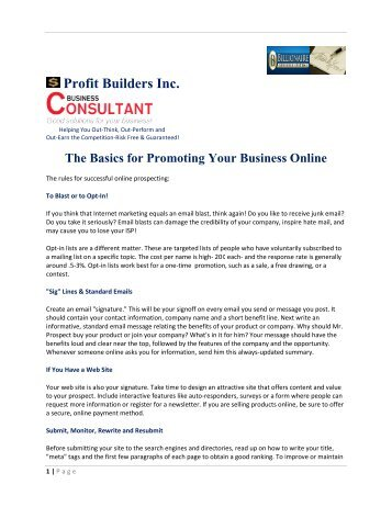 The Basics for Promoting Your Business Online