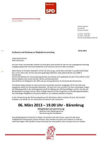 Download Einladung - SPD - Ortsverein Molfsee