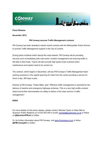 FM Conway secures Traffic Management contract