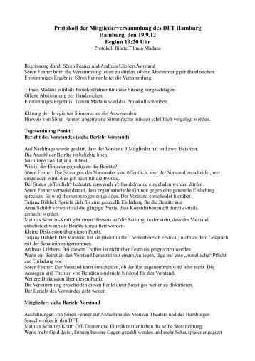 Protokoll der Mitgliederversammlung des DFT Hamburg Hamburg ...