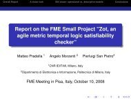 Report on the FME Small Project - Formal Methods Europe