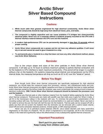arctic alumina thermal adhesive instructions