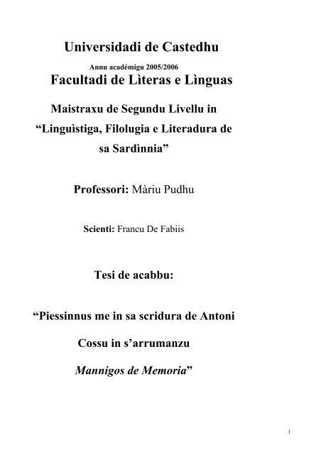 ligòngiu a sa tesi in pdf - Sotziu Limba Sarda