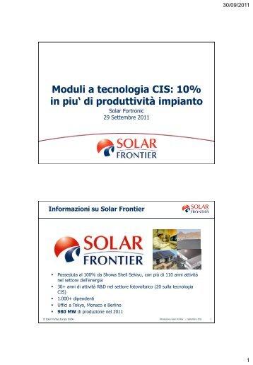 """Moduli a tecnologia CIS: 10% in piu"""" di produttività ... - Tecnoimprese"""